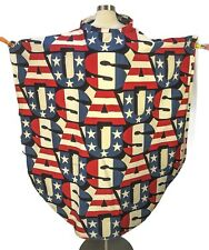 Vintage 60s Usa Print Canvas Poncho Cape One Size Protest Hippy Freedom Flag