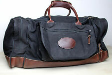 Vintage Black Canvas Leather Duffle Bag Heavy Duty Gym Travel