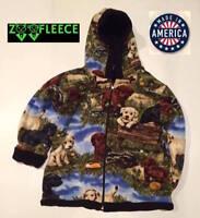 New Winter Fleece Dogs Puppies Kids Boys Girls Jacket Hood Coat Reversible Warm