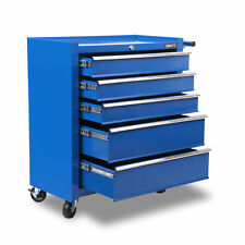 5 Drawers Mechanic Tools Storage Chest Cabinet Trolley Roller Toolbox Blue