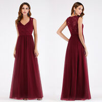 Ever-Pretty Lace V Neck Long Bridesmaid Evening Dress Cocktail Prom Gowns 07509
