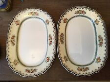 "2 x Wedgwood Imperial Ivory ""Manchu"" Small Oval Platters Pattern No.1315"