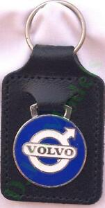Volvo Keyring Key Ring - round badge mounted on a leather fob