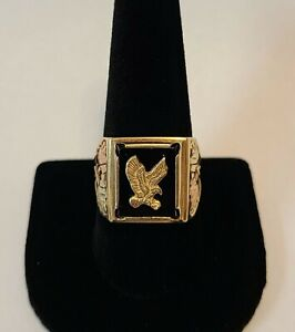 Vintage CCO Coleman Black Hills Gold Co 10K Onyx Eagle Mens Signet Ring Sz 10.5