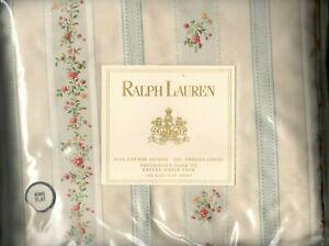 Ralph Lauren Julianne Blue Floral Stripe King Flat Sheet Sussex Gardens New