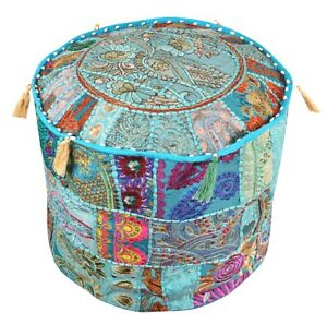 """22"""" Round Ethnic Indien Floor Cushion Cover Cotton Patchwork Embroidered Decor"""