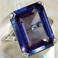 Upscale Women Men 925 Silver Rectangle Color Changing Alexandrite Ring Size 6-10