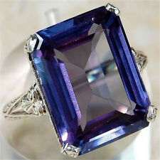 Upscale Women Men 925 Silver Rectangle Amethyst Rings Engagement Gift Size 7