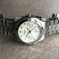 Caravelle By Bulova Womens Watch C869759 Silver Tone Case & Band W/Day & Date BK
