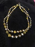 Bold Golden Yellow Faceted Beads Fun Necklace Party Sparkly Vintage Rockerbilly