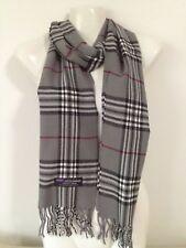 100 Cashmere Scarf Made in Scotland Plaid Design Gray Color Super Soft