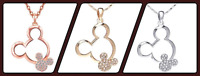 New Plated Crystal Mickey Mouse Necklace - Silver,Gold or Rose Gold - Great Gift