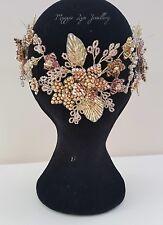 Copricapo da sposa in Oro, Oro Rosa, Fard & Topazio. Copricapo dichiarazione hairvine