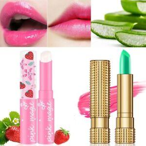 Aloe Vera Lipstick Lip Balm Gloss Strawberry Color Change Long Lasting Moisture