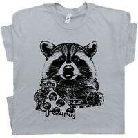 Raccoon T Shirt Funny Beer Tee Retro Vintage Camping Pizza Graphic National Park