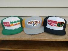 Vintage Pac-Man, Space Invaders, Asteroid Ace Snapback Hats / True Vtg 1980's