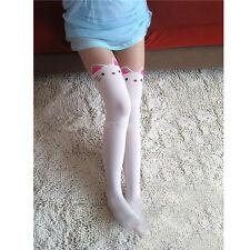 Collant Calze Leggings Tights con Finto TATTOO TATUAGGIO GATTO Bianco Novità