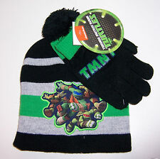 TMNT TEENAGE MUTANT NINJA TURTLES Knit HAT Pom-Pom BEANIE Cap & Gloves Glove SET