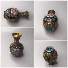 Antique Art Deco Cloisonné Enamel Mosaic Flowers Gilt Urn Vase Multi Color