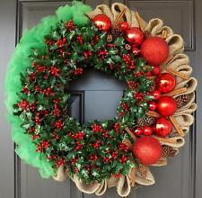 Christmas Wreath Red Green Cinnamon Pine Cone - Christmas Cinnamon