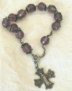Ancien bracelet dizainier perle de cristal et argent massif
