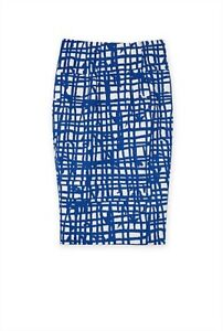COUNTRY ROAD, SIZE 4, WHITE/BLUE PRINTED PENCIL SKIRT