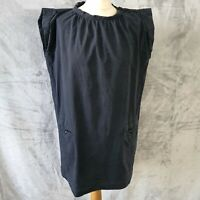 APC black short sleeved cotton boxy tunic dress pockets casual womens Medium
