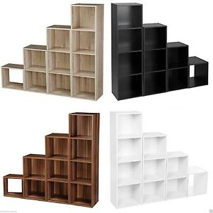 Wooden Storage Unit Cube 2 3 4 Tier Strong Bookcase Shelving Home Office Display