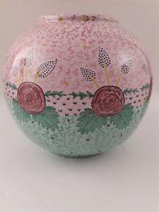 """Vintage Large Les Hurets France Pottery Pink Floral Vase - 9"""" x 9"""""""