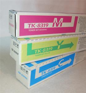 [0357*] KYOCERA TK8319C, TK8319M, TK8319Y TONER CARTRIDGES - THREE ( RRP>$204)