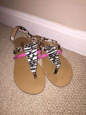 Shoes of Soul Pink Zebra Leopard Silver Studded Sandals 5