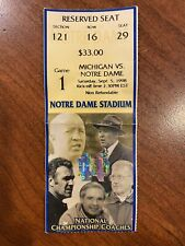 1998 Notre Dame vs Michigan Ticket Tom Brady First Start