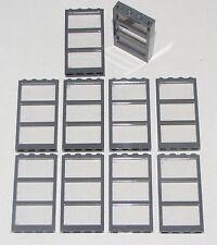 LEGO LOT OF 10 1 X 4 X 6 DARK BLUISH GREY FRAMES WINDOWS DOOR