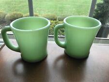 2 Fire King Jadeite Jade-ite D Handle Cups Mugs