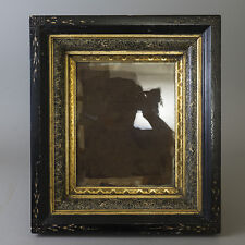 Antique Carved Wood Shadow Box Frame Gilt Marbled Victorian Eastlake Deep Incise