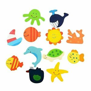 12 PCS set Kids Learning Wood Cartoon Fridge Magnets Child Educational Toy TC