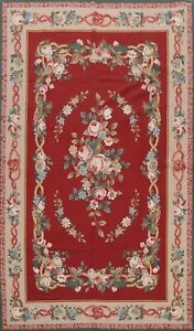 RED Floral Needlepoint Chinese Area Rug Hand-woven Wool Transitional 6x9 Carpet