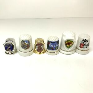 Vintage Lot of 6 Nevada/Las Vegas/Reno Souvenir Thimbles Metal Ceramic