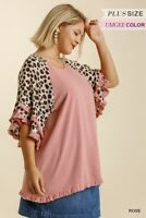 Umgee Animal Print Linen Blend Layered Bell Sleeve Top Plus Size XL 1X 2X