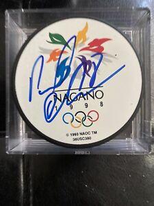 Pavol Demitra Signed 1998 Nagano Olympics Puck Slovakia St. Louis Blues