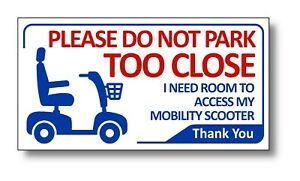 2 x Mobility Scooter Car Sticker Signs 200mm x 105mm Access Required Waterproof