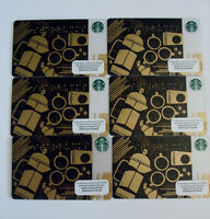 Starbucks Braille Gift Card Lot 6 Gold Black Coffee No Value USA Release 2013