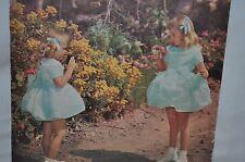 1940 -1950 childrens  SUNDAY SCHOOL GIRLS blue dress & ribbons  puzzle USA