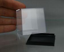 "NEW ACRYLIC DISPLAY BOX miniature 50 x 50 x 52 mm or 2"" x 2"" BLACK BASE"