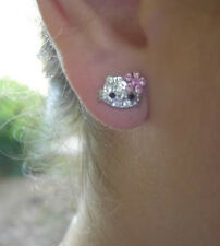 """X-small 1/4"""" Hello Kitty Pink Crystal Stud Earrings"""