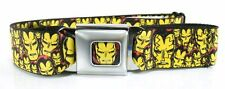 The Avengers Iron Man Buckle-Down Belt Marvel Comics ADJUSTABLE! YELLOW FACES