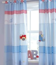 IZZIWOTNOT HUMPHREYS CORNER LITTLE RED CAR TAB TOP CURTAINS - BLUE BOYS NURSERY