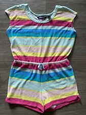 EUC Lands End Girls Terry Cover Up Romper Striped L Large 10 12