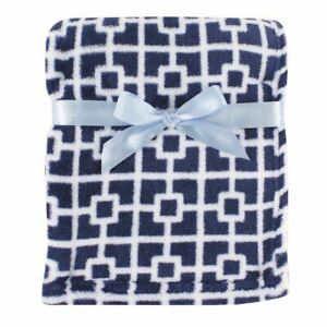 Luvable Friends Coral Fleece Blanket, Blue Squares
