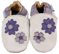 NEW SOFT LEATHER BABY SHOES / SLIPPERS 0-6, 6-12, 12-18 & 18-24 Mths VIOLETS